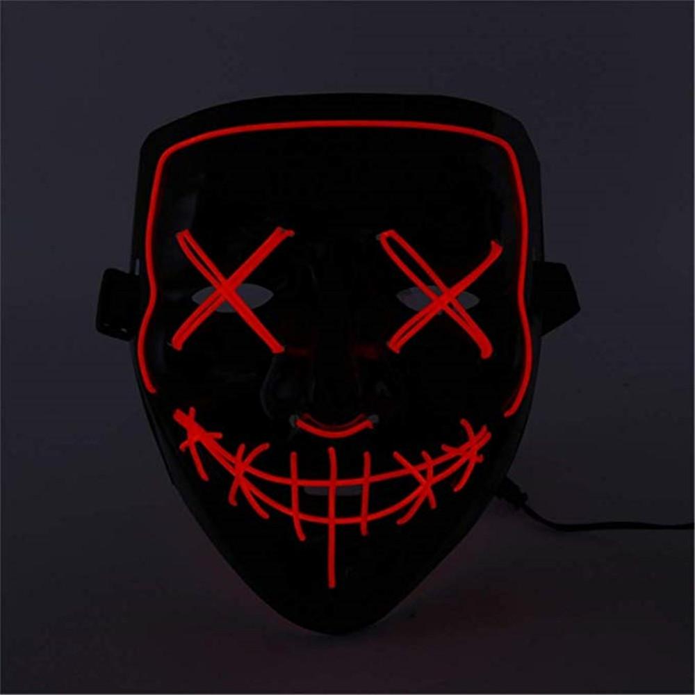 Light Up LED Mask Halloween Scary Mask Costume for Men Women Kids