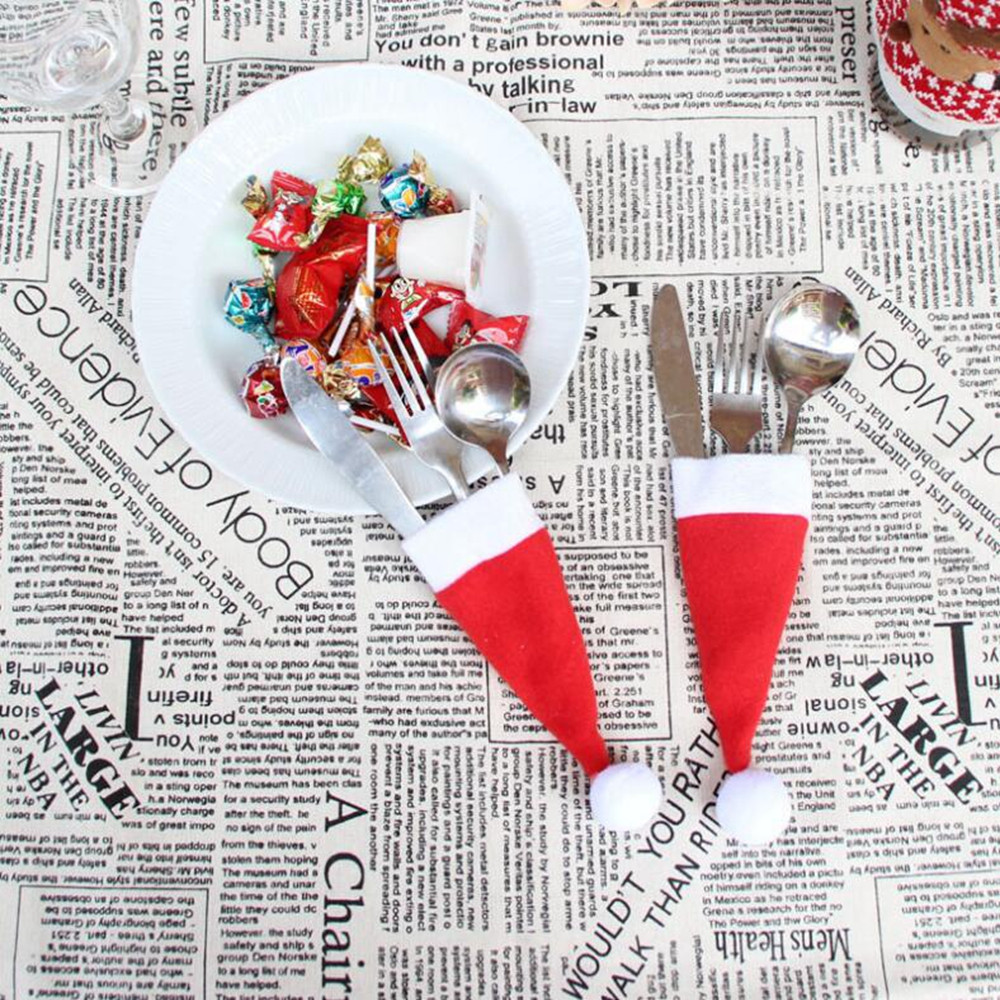 2Pcs Mini Christmas Santa Hat Knife and Fork Cover Pocket