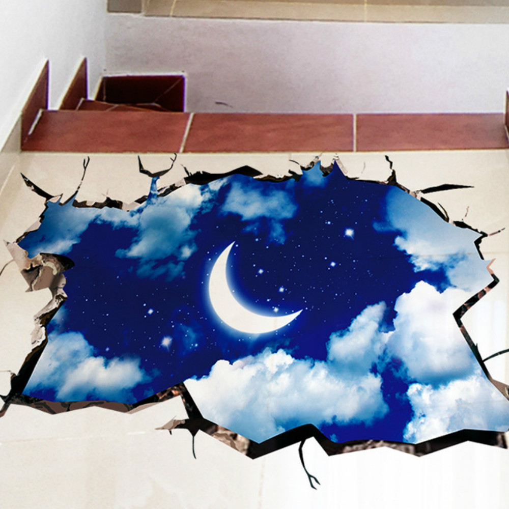 3D Moon Sky Decoration Cupboard Roof Floor Decal Art Stickers