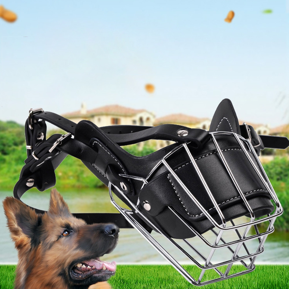 Adjustable Leather Iron Cage Dog Muzzle Mask for Anti-bite