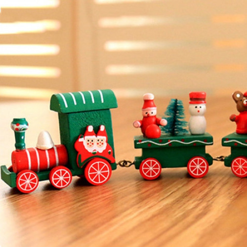 Cartoon Style Wooden Train Decoration Toy for Christmas