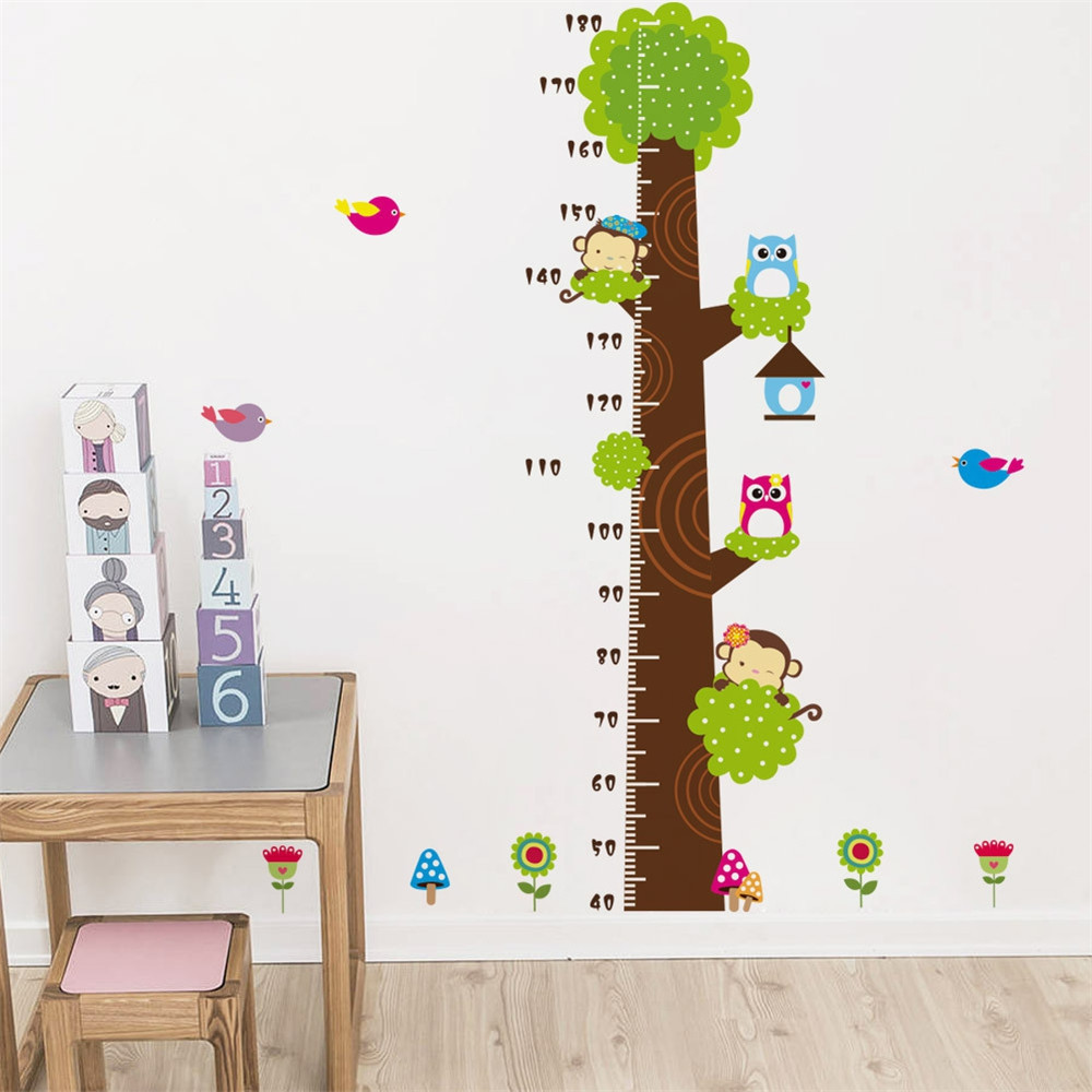 Cartoon Monkey Owl Tree Height Measurement Sticker Children'S Room Wall Decor