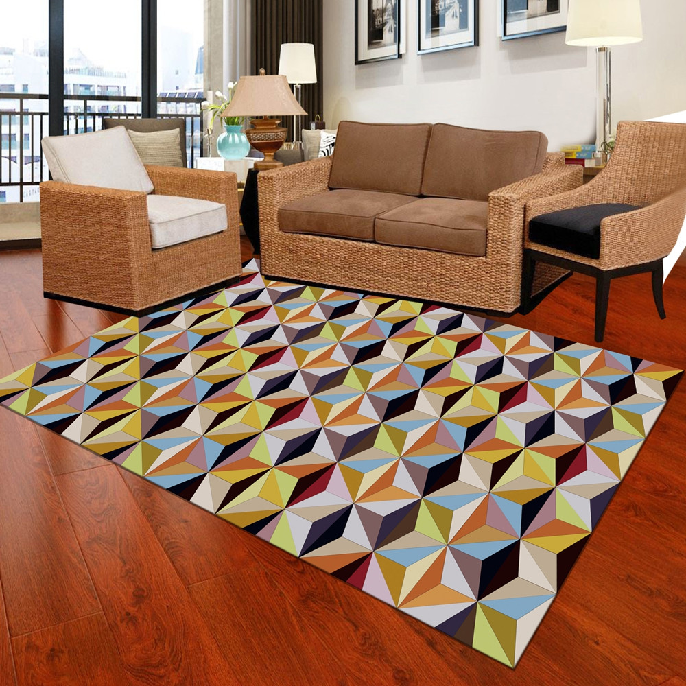 1 Pc Home Door Mat Modern Style Geometric Pattern Soft Floor Pad
