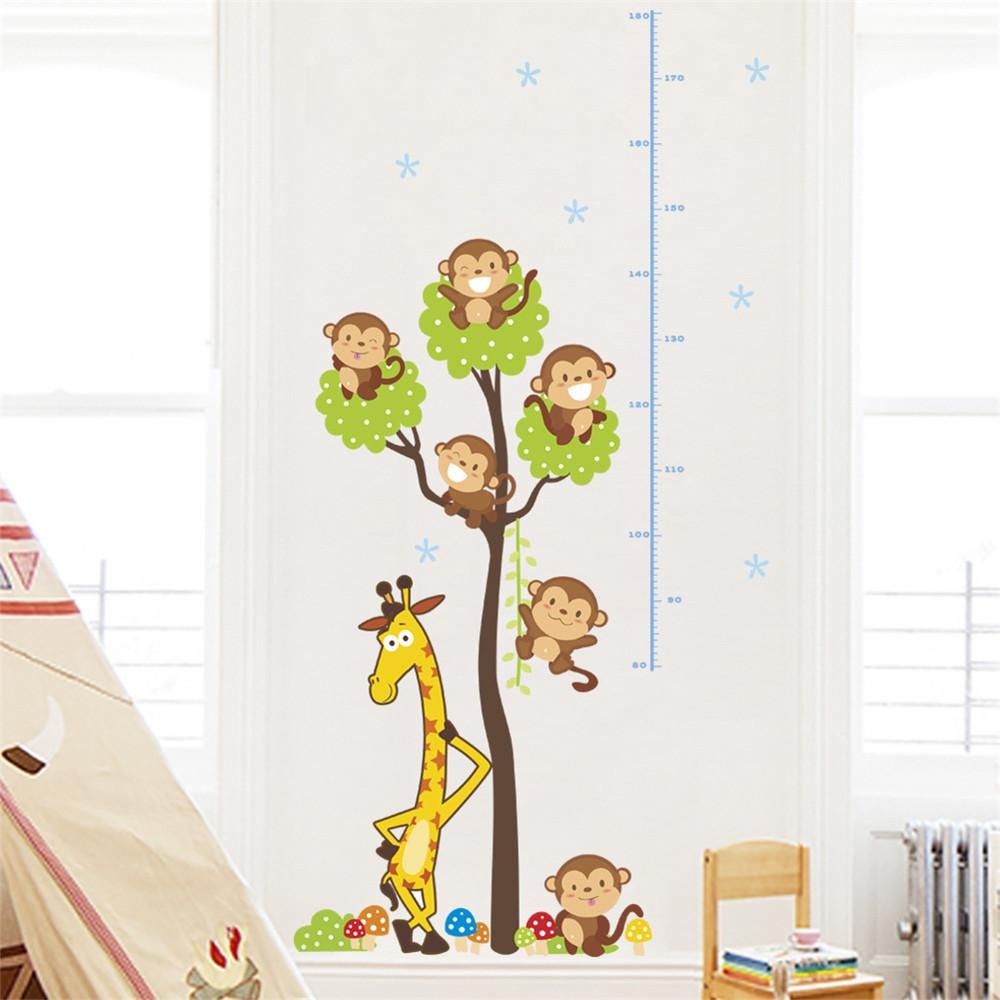 Cartoon Monkey Giraffe Tree Height Attached To Children'S Room wall Sticker