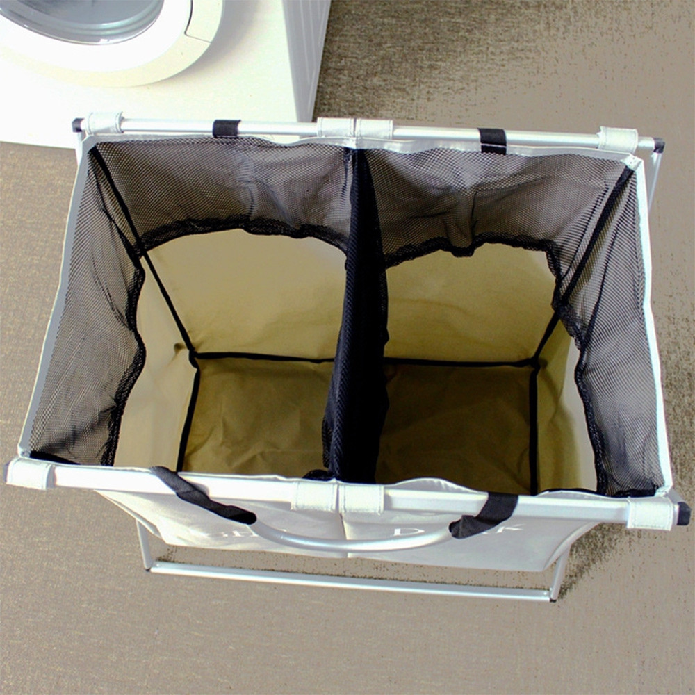 Folding X-frame 2 Sections Dirty Laundry Basket for Apartment Home College Use