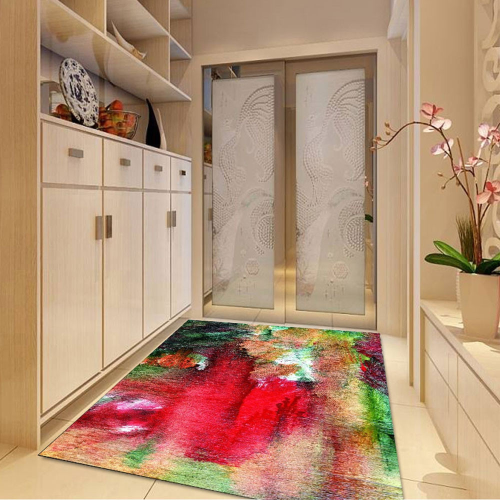 1 Pc Bedroom Floor Mat Abstract Style Soft Non-Slip Carpet