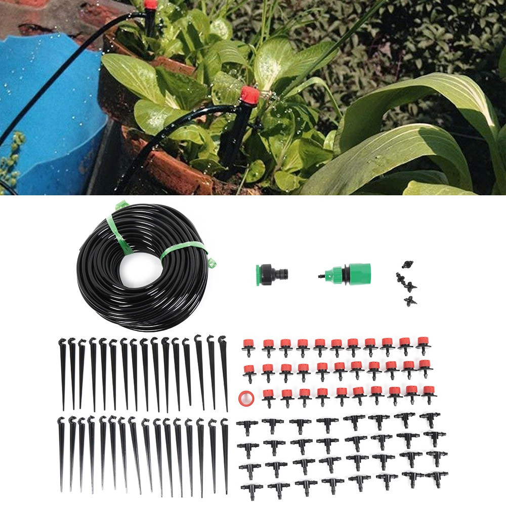 25m 30 Drip Nozzles DIY for Garden Watering Irrigation Dripper Hose Kits