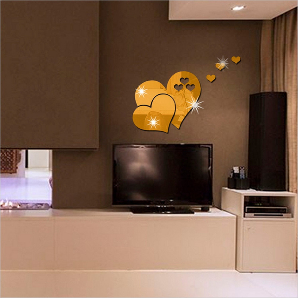 3D Acrylic Wall with Caring Shape Mirror Wall with Living Room Background Wall