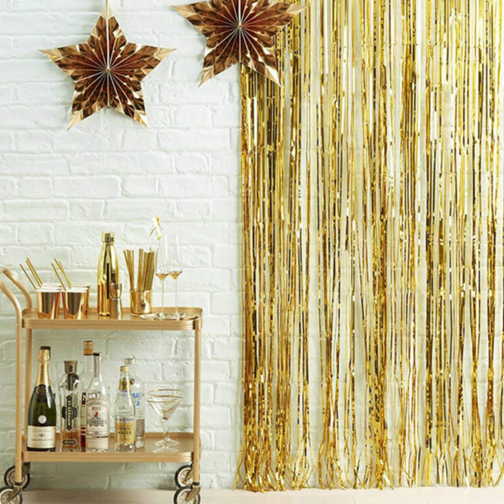 1x2meters Sequin Foil Fringe Tinsel Curtain Birthday Party  for Decoration