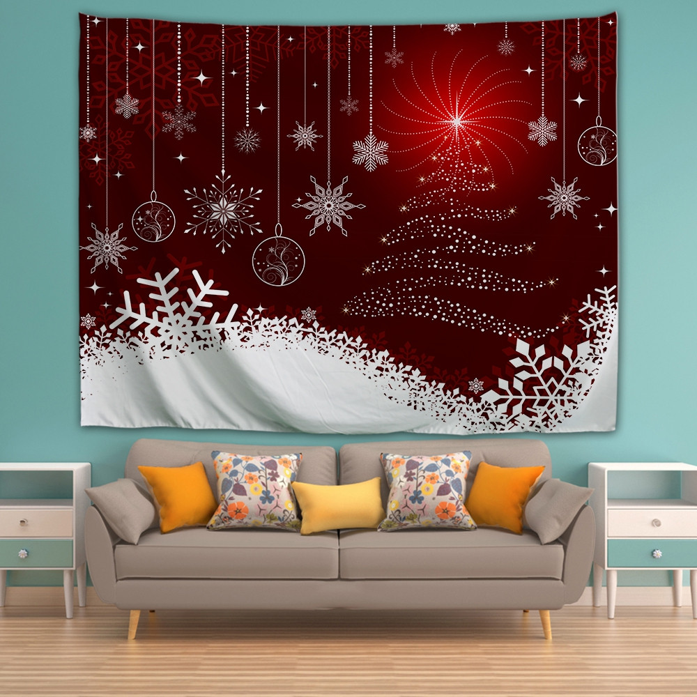 Christmas Snow Line Printing Home Wall Hanging Tapestry for Decoration