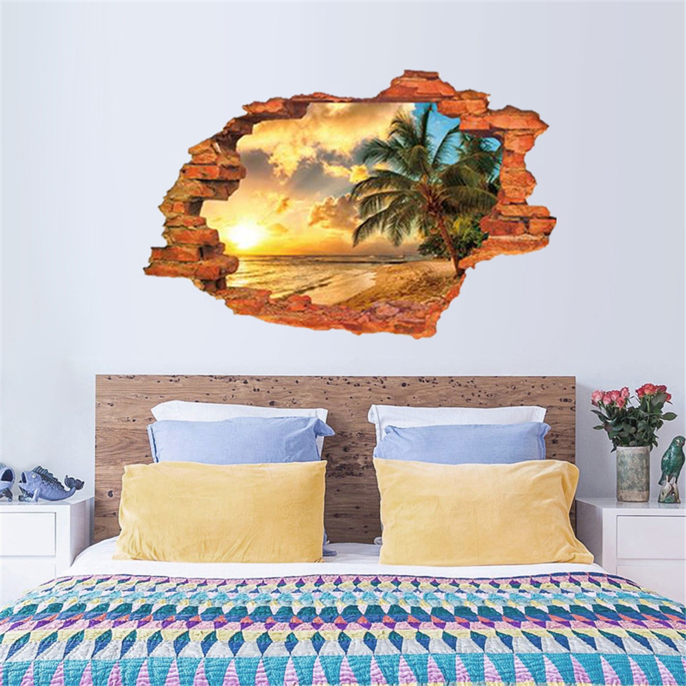 Broken Wall Sunset Coconut Beach Scenery Wall with 3D Stereo Effect Sticker