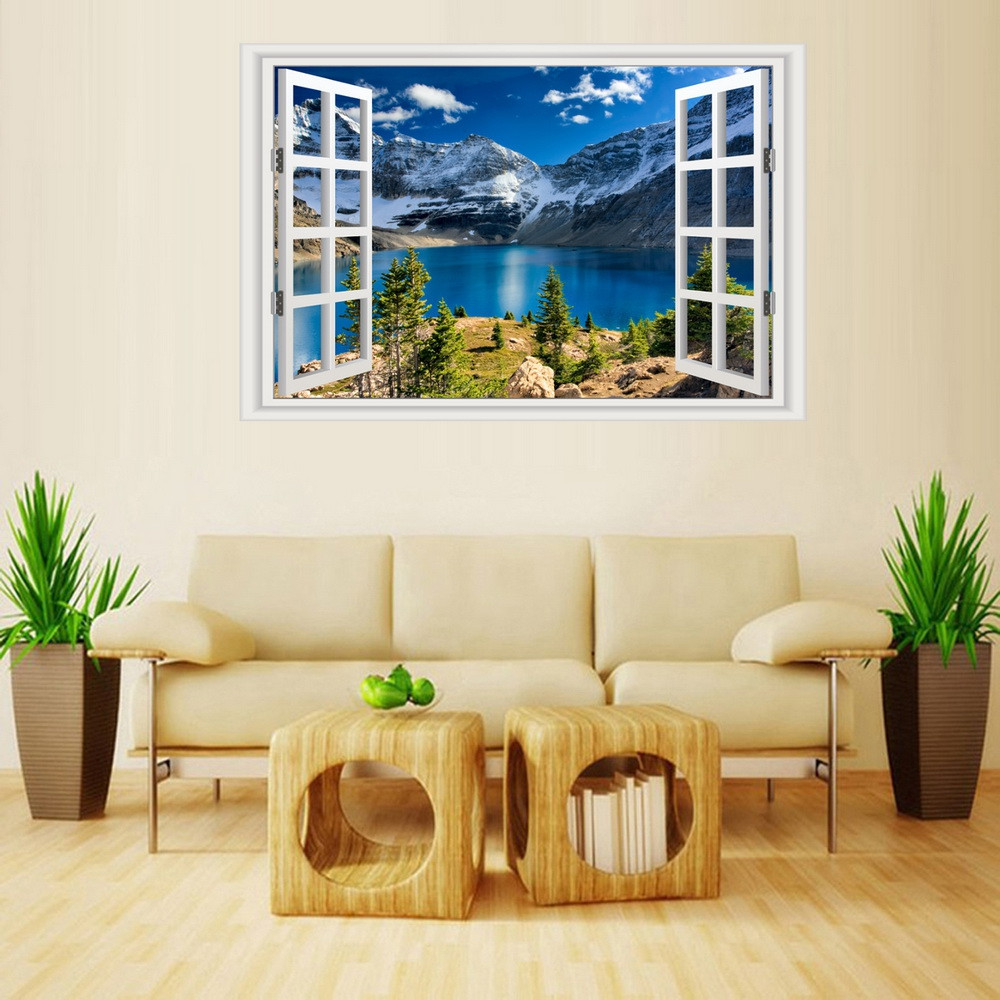 MailingArt Wall Sticker Home Decor False Faux Window Snow Mount Lake