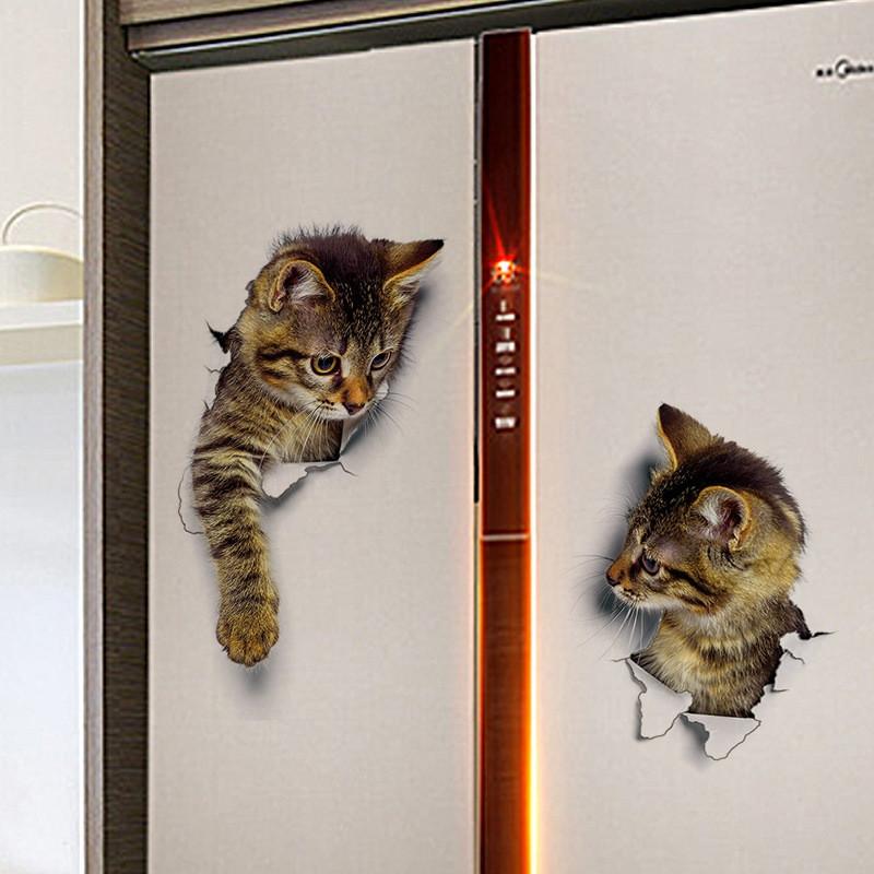 3PCS Cat Wall Stickers Decoration 3D Bathroom Toilet Stickers DIY