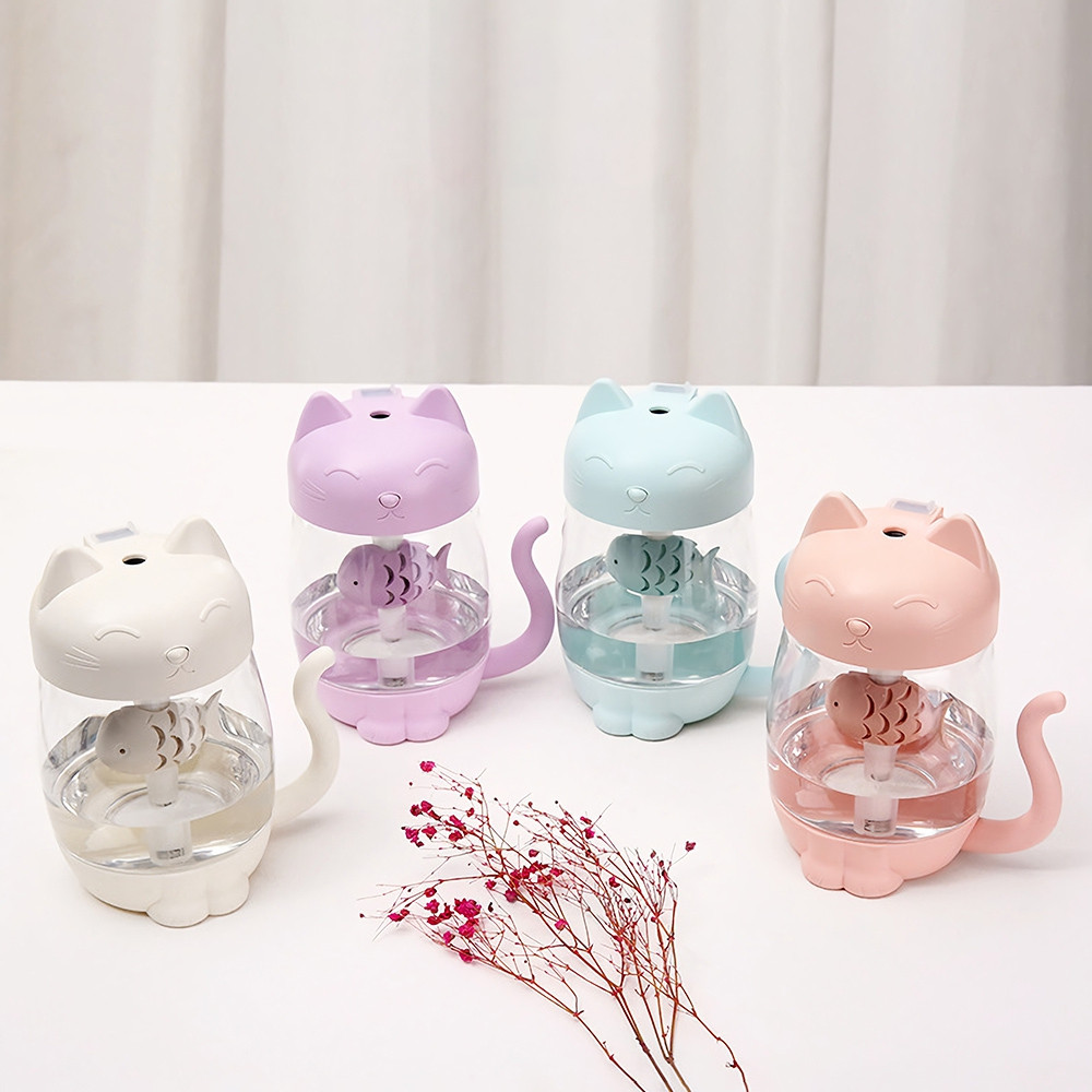 3 in 1 LED Night Light Fan Humidifier Cute Cat Air Diffuser Purifier Atomizer