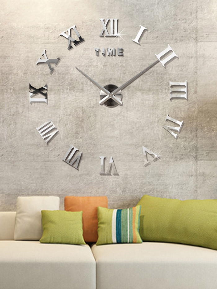 3D Roman Numerals DIY Acrylic Mirror Clock Wall Sticker