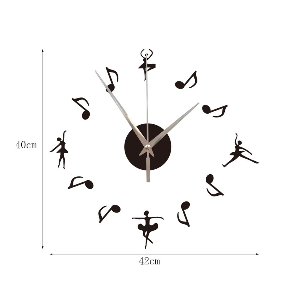 Ballet Girl DIY Musical Notes Mirror Wall Hanging Wall Clock