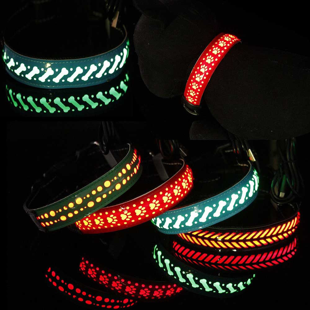 1 Piece USB Electricize Multiple Luminous Modes LED PU Leather Carved Pet Collar