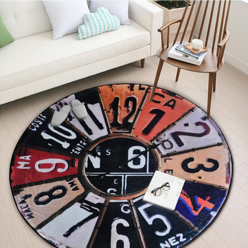 Round Shape Clock Pattern Floor Mat Anti-slip Printed Rug