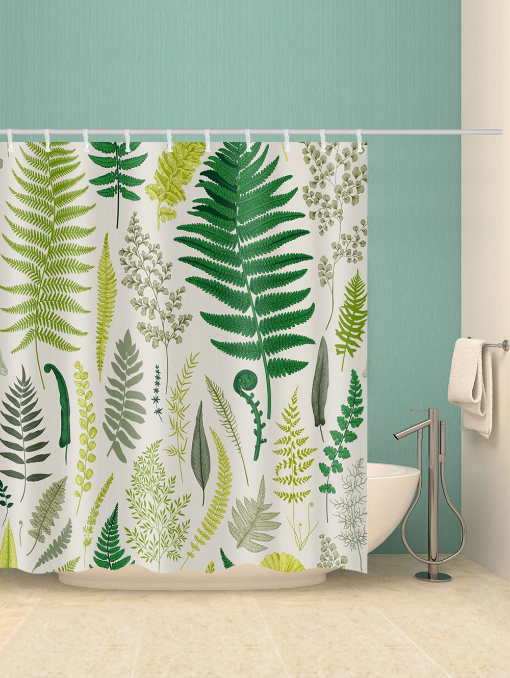 Fern Leaf Print Waterproof Shower Curtain