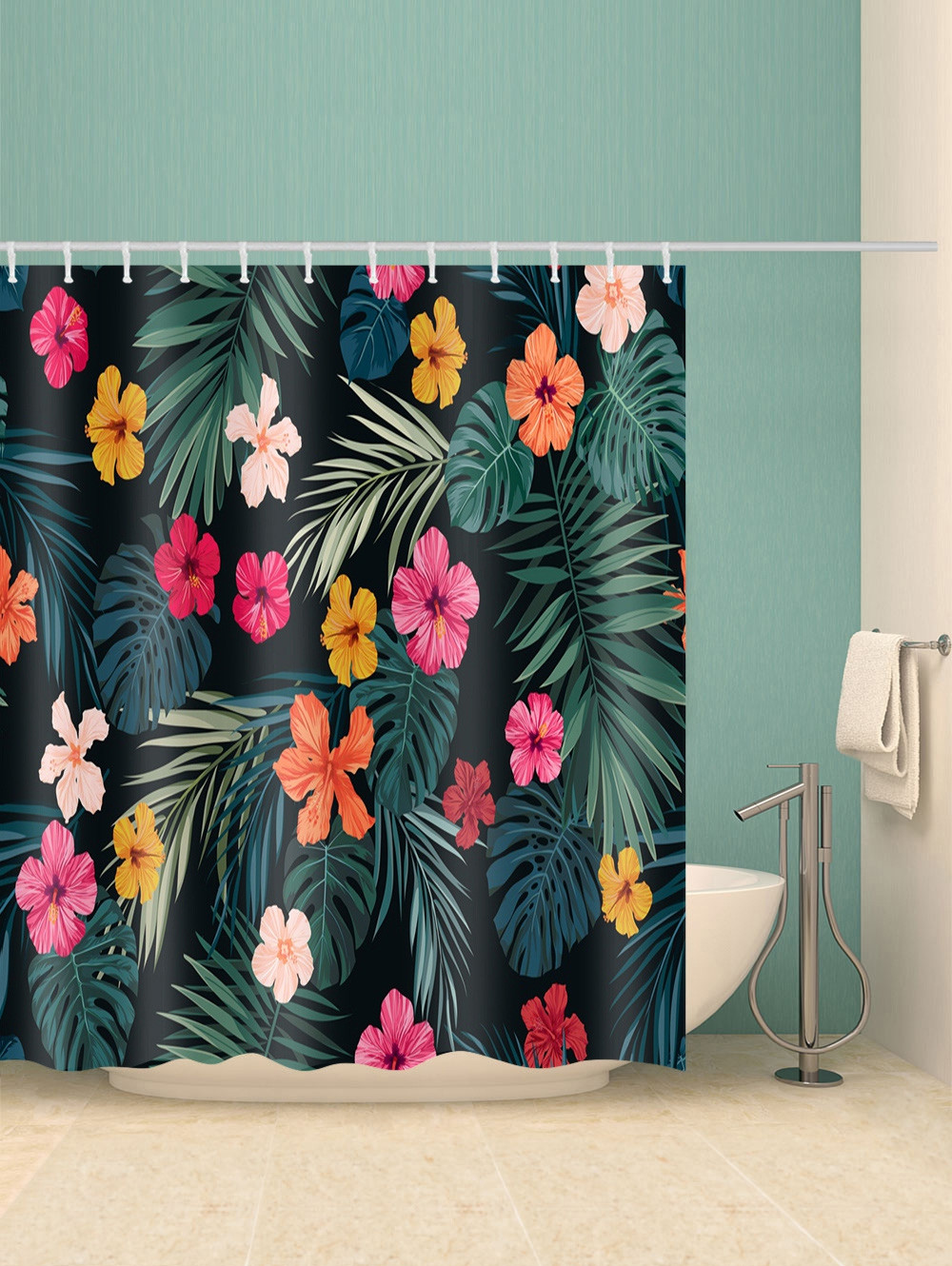 Flowers Leaves Print Shower Curtain
