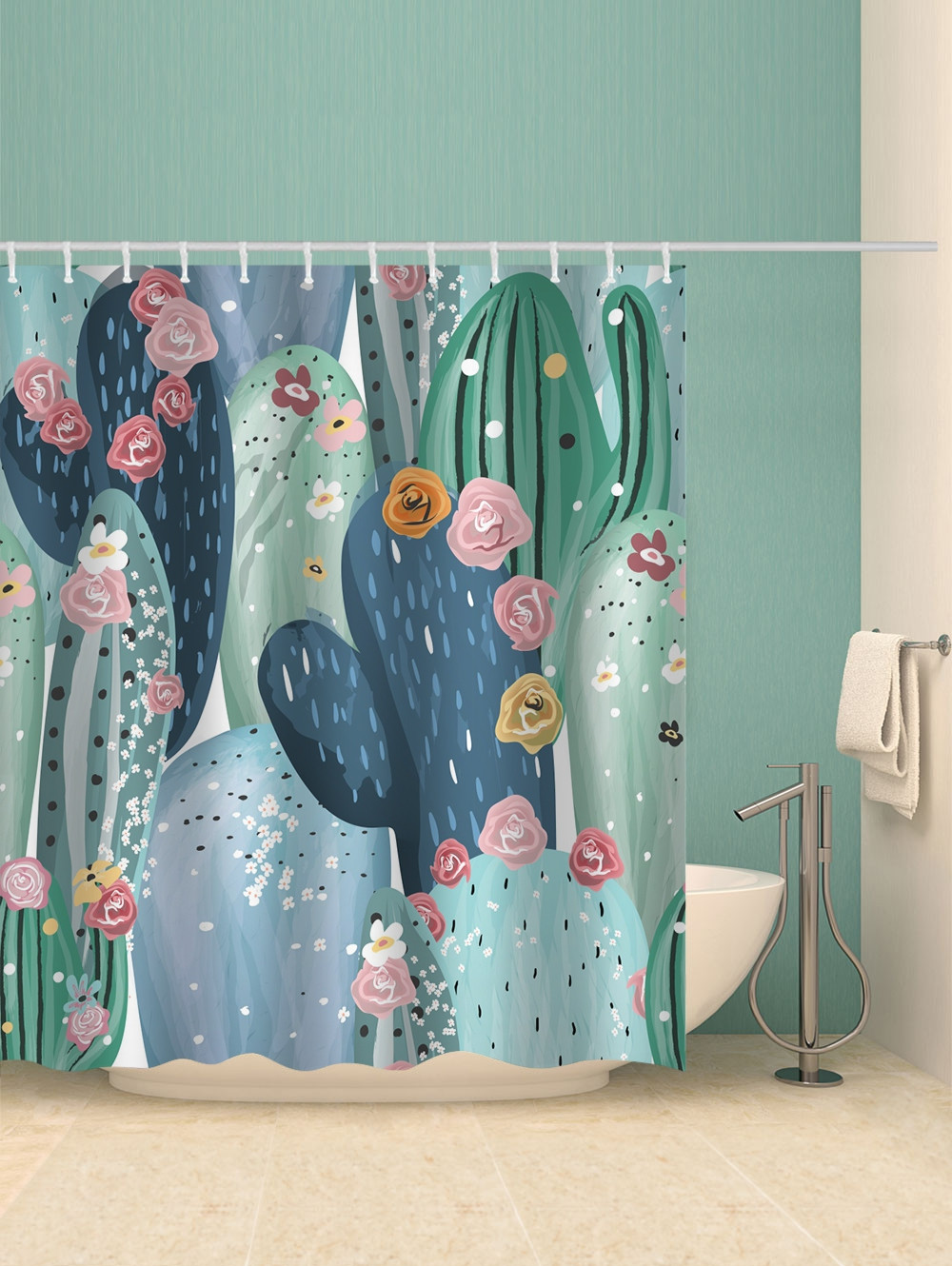 Cactus Flowers Print Waterproof Shower Curtain
