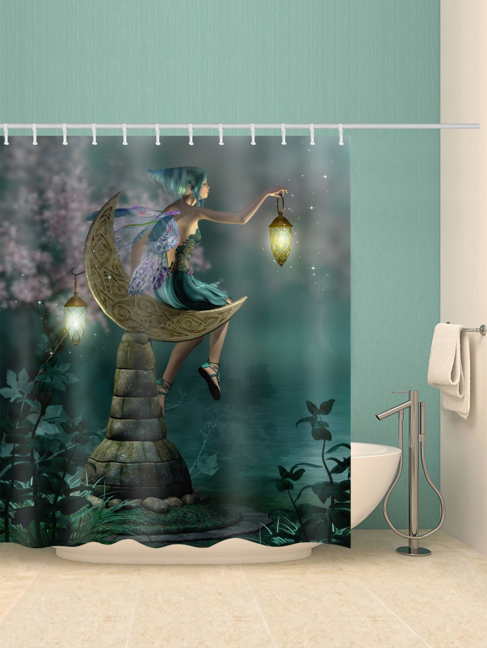 Night Scenery Keeper Print Waterproof Shower Curtain