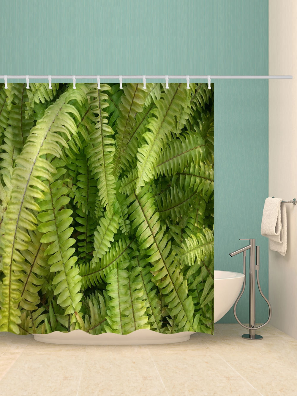 Fern Leaf Print Waterproof Bathroom Shower Curtain