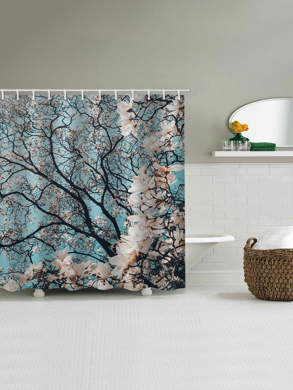 Flowers Tree Print Shower Curtain