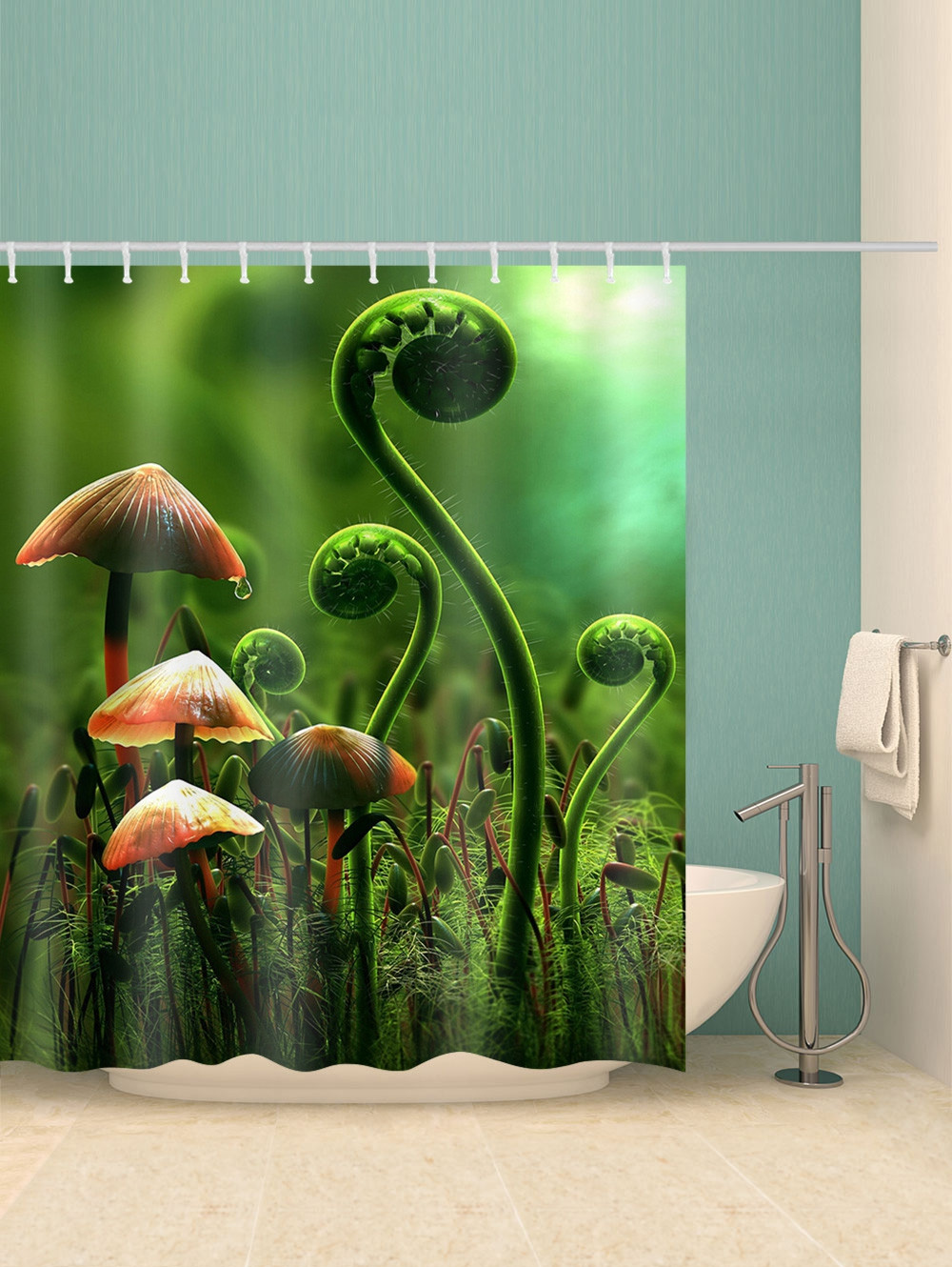 Fern and Mushroom Print Waterproof Bathroom Shower Curtain
