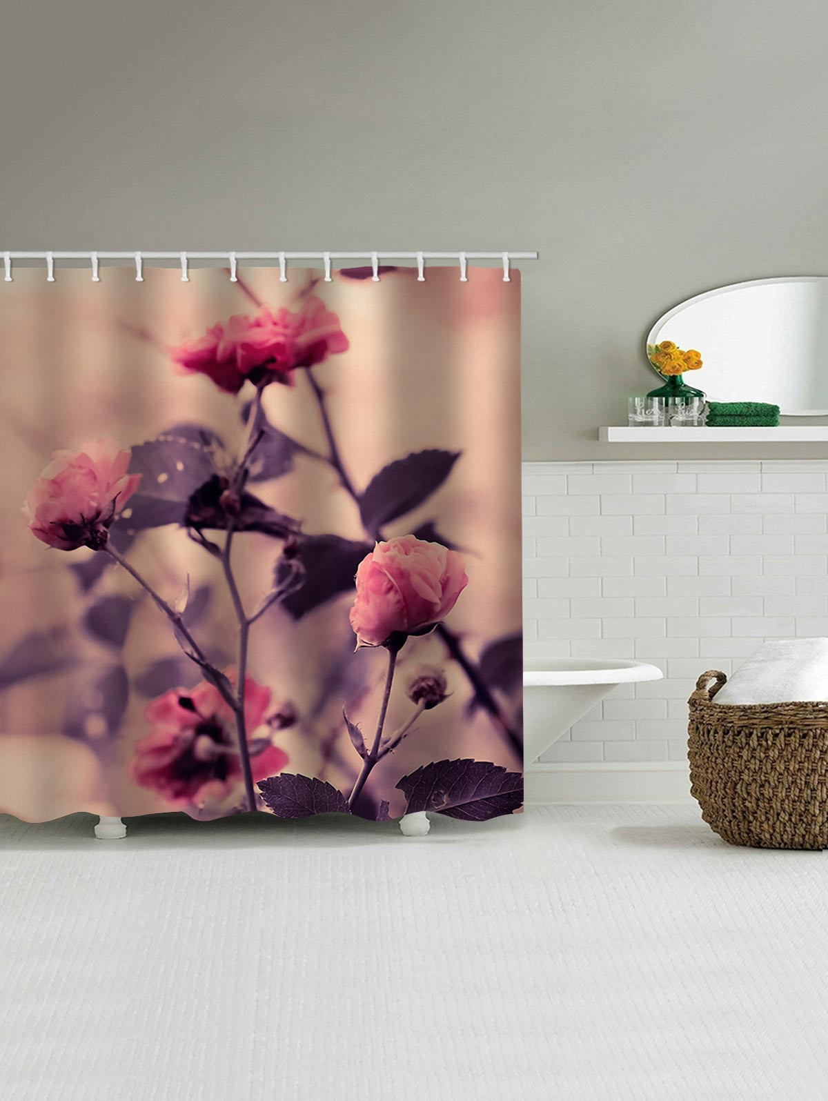 Flower Branch Print Waterproof Bathroom Shower Curtain