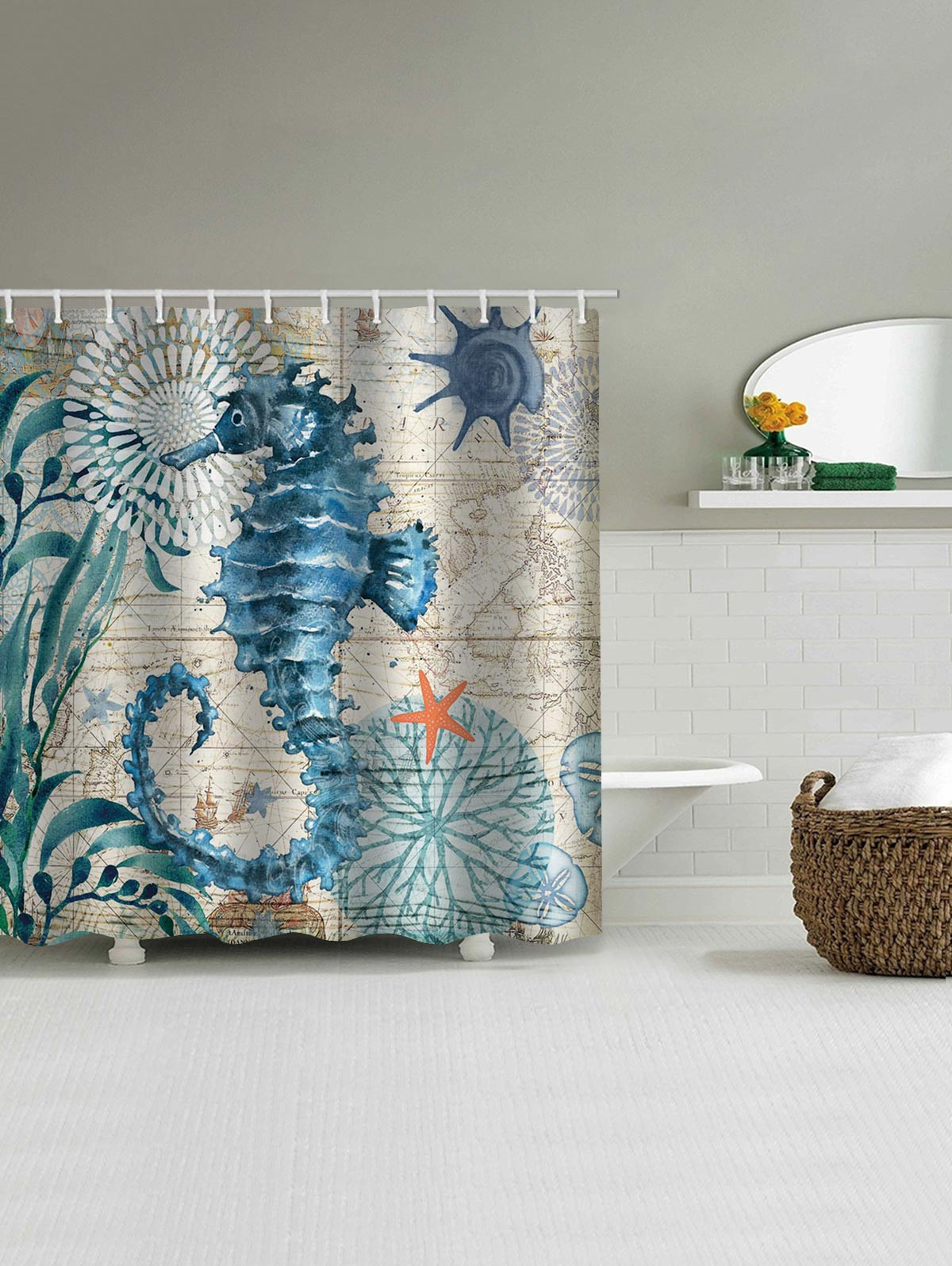 Nautical Sea Horse Print Waterproof Bathroom Shower Curtain