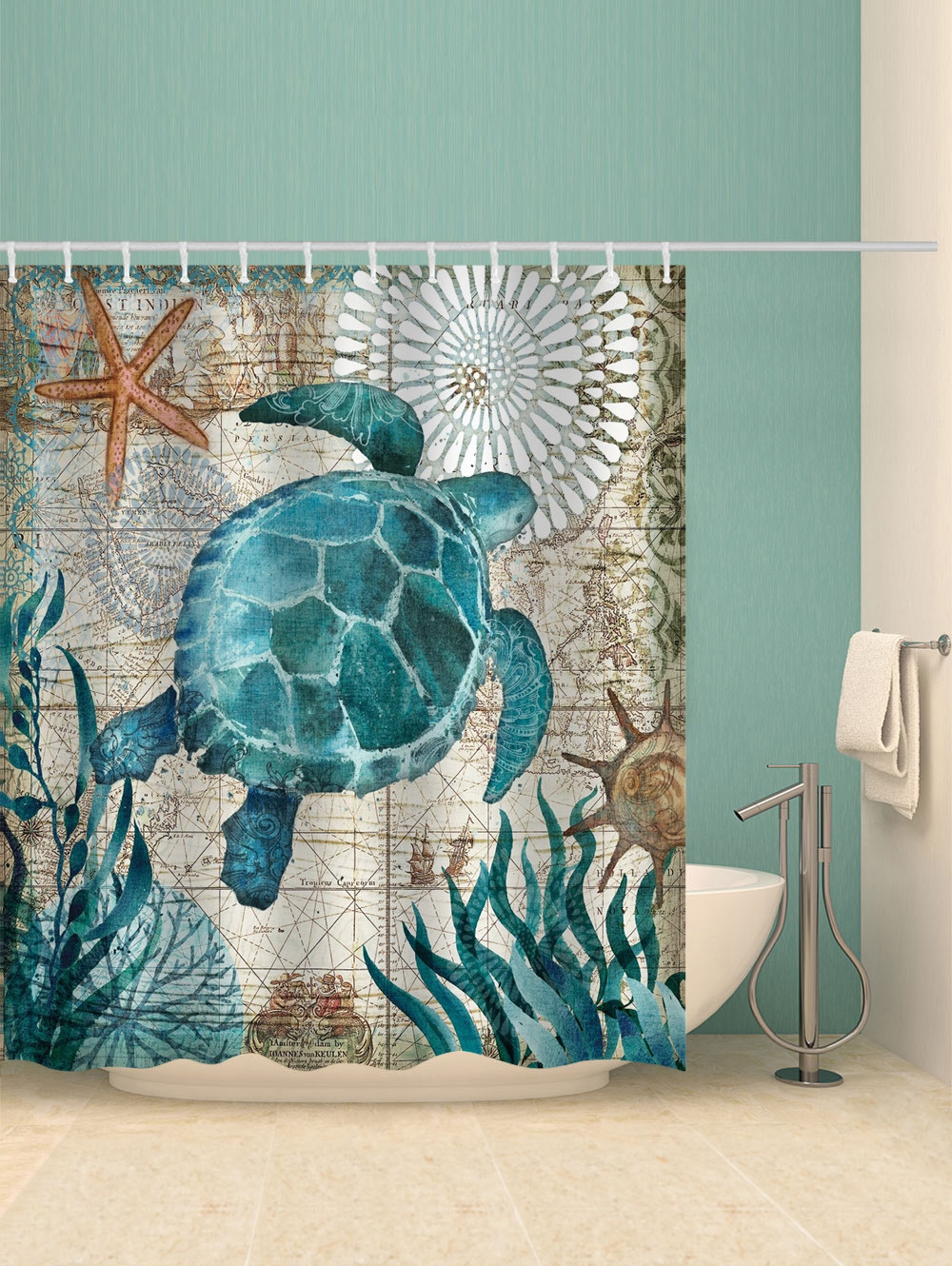 Nautical Turtle Print Waterproof Bathroom Shower Curtain