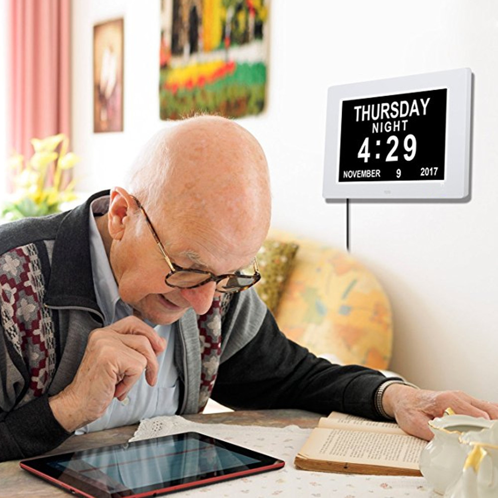 8 Inch Display Digital Calendar Day Clock for Vision Impaired Elder
