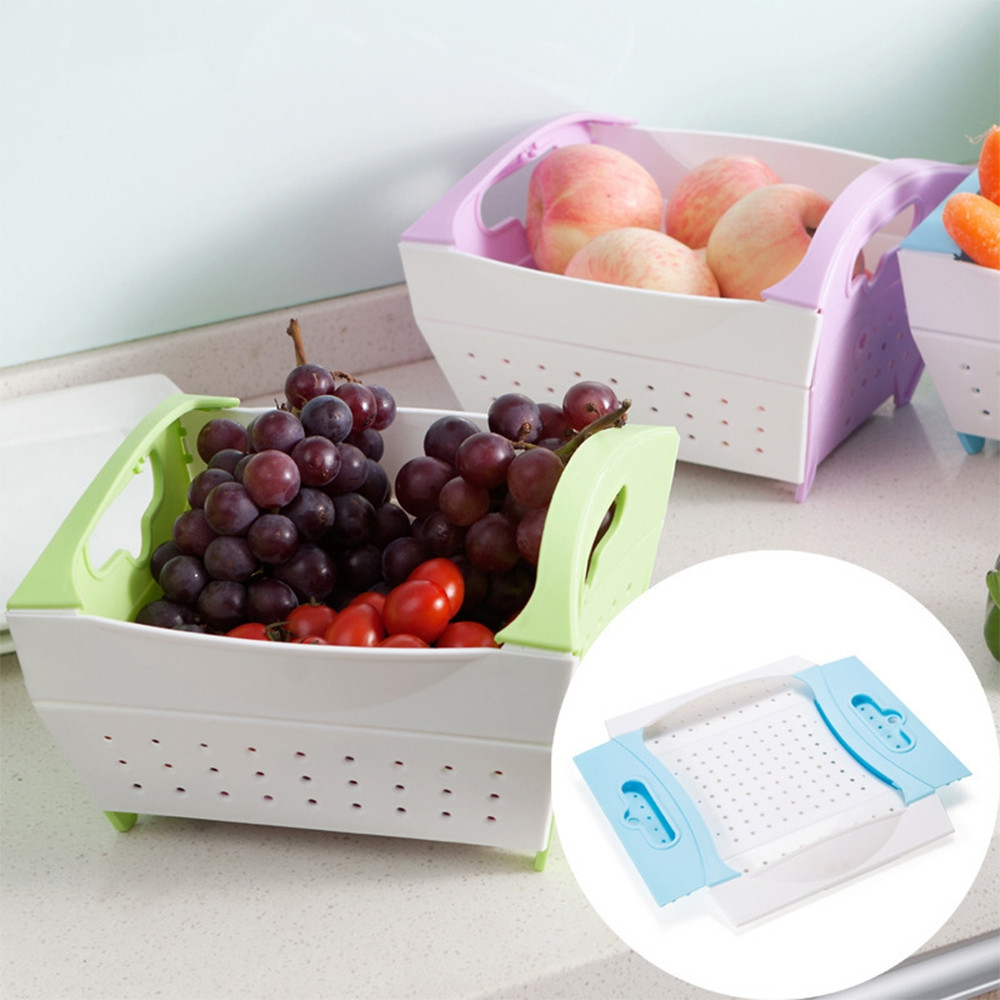 Foldable Plastic Vegetable Fruit Drain Basket Kitchen Washing