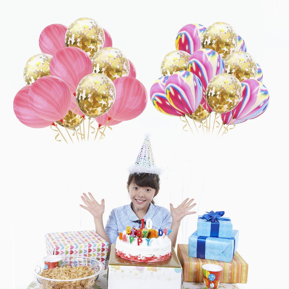 12 inch 15pcs Agate Latex Confetti Balloon