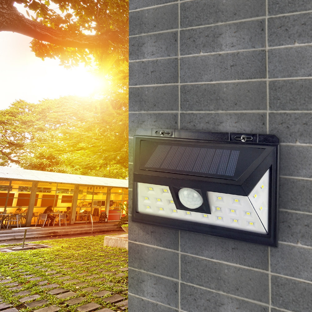 24 LED Solar Energy Wall Lamp Light Outdoor Garden Security Garage Emergency Lighting