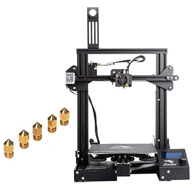 Creality3D Ender - 3X ( Ender - 3 Upgraded Version ) 3D Printer with Tempered Glass Bed + 5pcs 0.4mm Nozzle