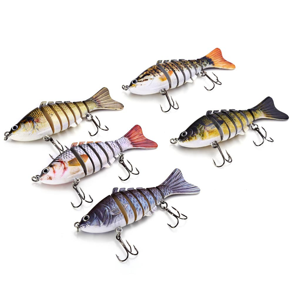 3D Eyes Lifelike Fishing Lure Swimbait with Treble Hooks 7 Jointed Sections