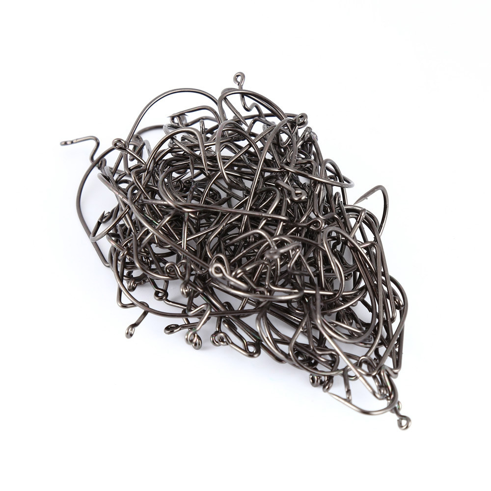 100 PCS High-carbon Steel Worm Offset Hook with Extra Wide Gap