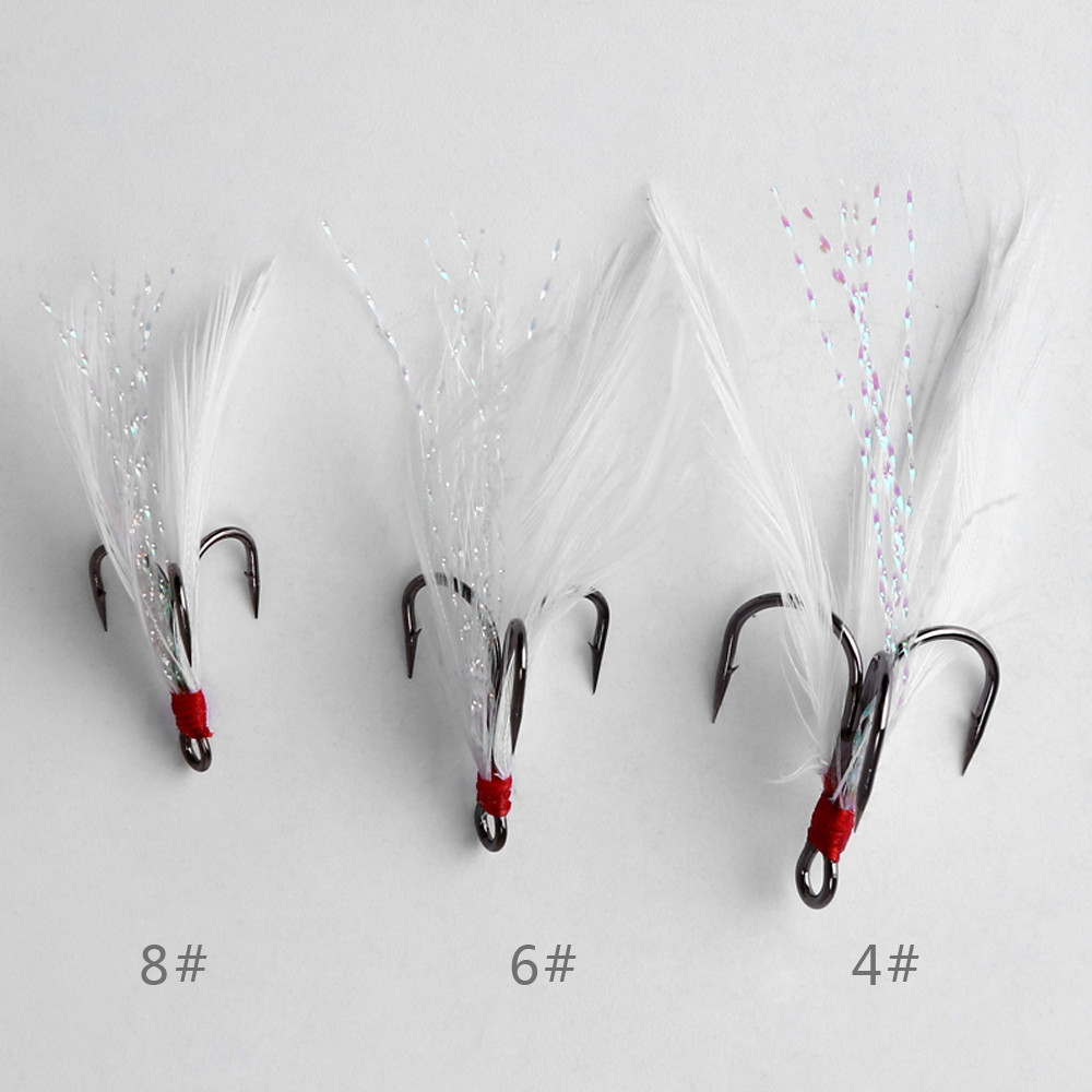20 PCS Stainless Steel Lures Fishing Treble Hooks with Feather