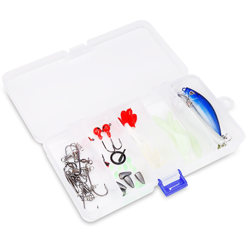 52pcs Mixed Hooks Kit Artificial Bait Fishing Gear