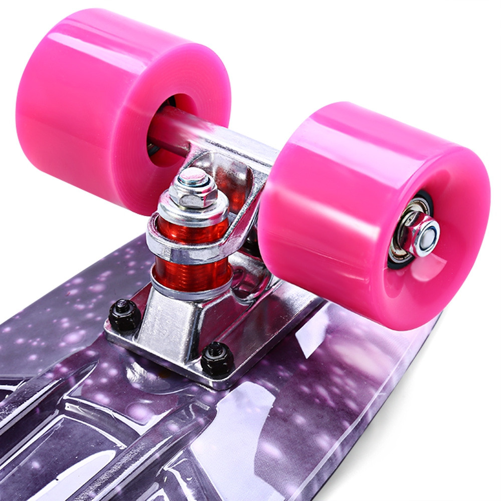 CL - 95 22 inch Purple Starry Sky Pattern Retro Skateboard Longboard Mini Cruiser