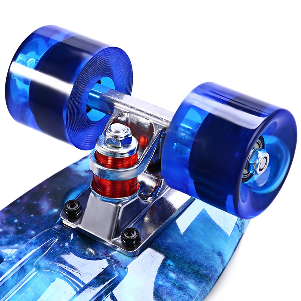 CL-94 22 inch Blue Starry Sky Pattern Retro Skateboard Longboard Mini Cruiser