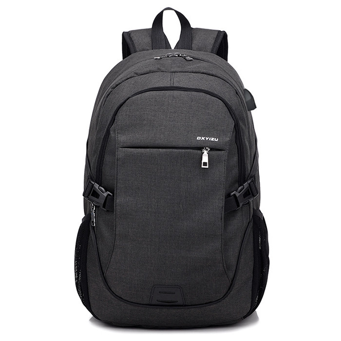 Durable Solid Color Canvas Backpack with USB Port for Men