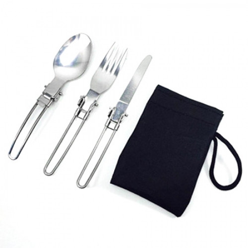 Camping Folding Stainless Steel Tableware including Knife / Fork / Spoon