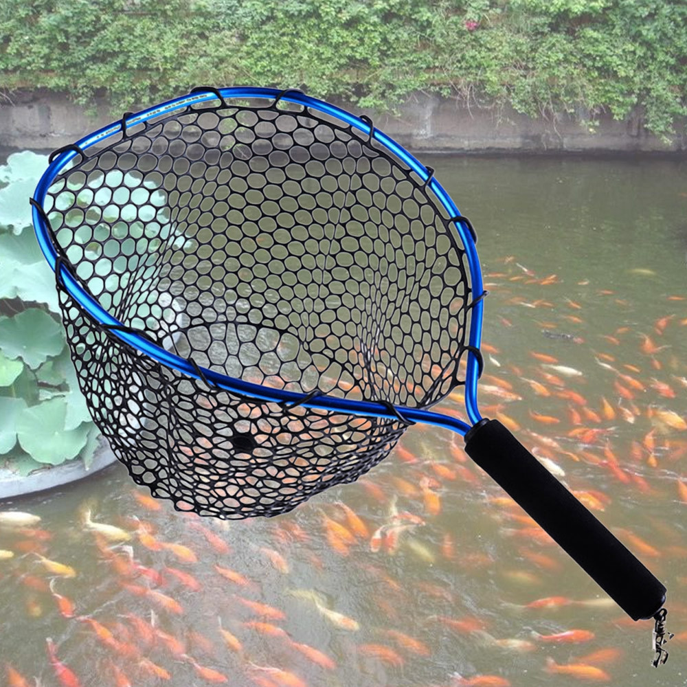 Rubber Mesh Fishing Net with Metal Clip
