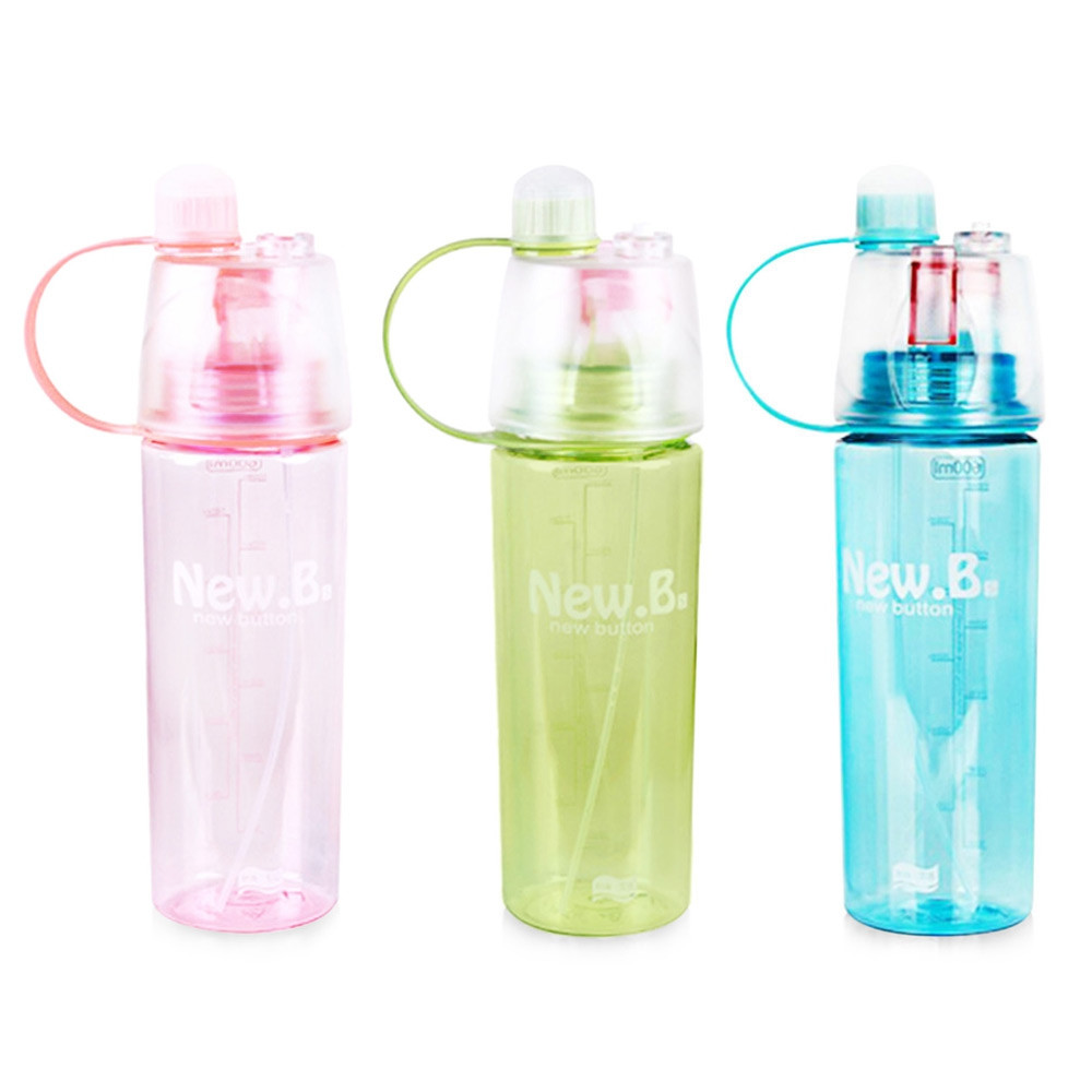 Sports Plastic Spray Cup Kettle Easy-carry Outdoor Cooling Water Bottle