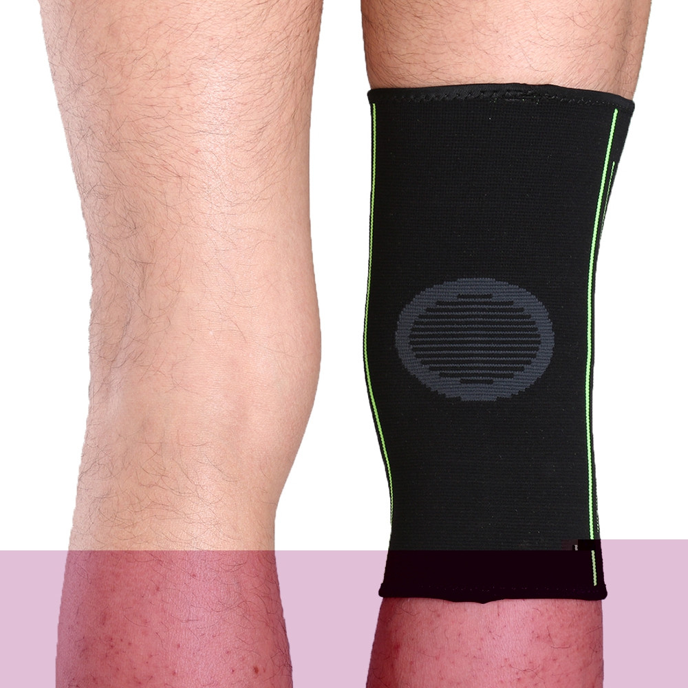 Mumian A08 Silicone Slip-Resistant Knee Black Green Color Knitting Keep Sports Knee Sleeve Brace - 1PCS