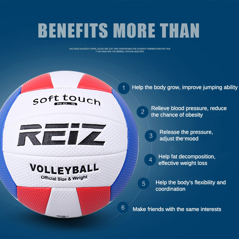 Official Size 5 Pu Volleyball High Quality Match Indooroutdoor Training Ball with Free Gift Net Needle