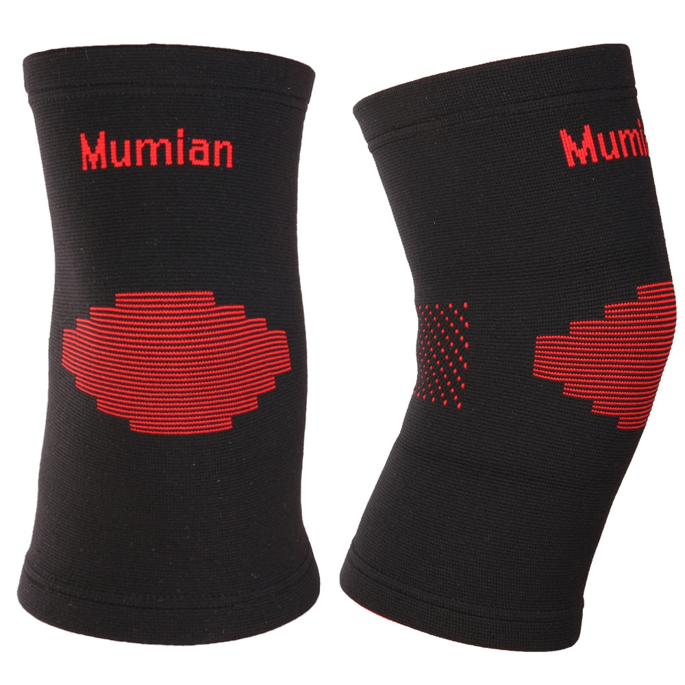 Mumian A03 Classic Red Black Color Knitting Keep Warm Sports Knee Sleeve Brace - 1PCS